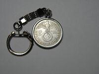 WW2 1937 German 2 Mark Silver Third Reich Coin With Large Swastika Keychain Fob