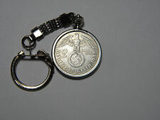 1937 WW2 German 2 Mark Silver Third Reich Coin With Large Swastika Keychain Fob