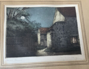 Antique French Etching Gorgeous Moon Stone Home Night Scene Signed Framed