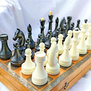 Big Chess Vintage USSR Soviet Set Plastic Russian Style Antique Old Rare Wood