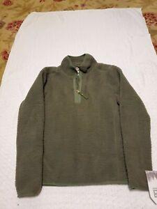 AVALANCHE Women Size Medium Green Fuzzy Half-Zip Fleece Pullover G1613