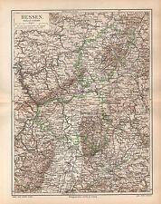 HESSEN Ober-Hessen Starkenburg Rhein-Hessen Frankfurt Kassel Landkarte 1895