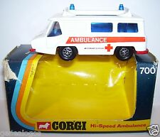 CORGI TOYS HI VELOCIDAD EMERGENCY AMBULANCIA MOTORWAY CRUZ ROJO 1973 REF 700 BOX