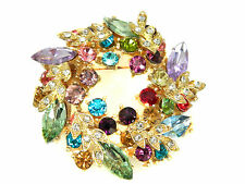 Colourful Wreath Christmas Decoration Brooch Gold Base BR90