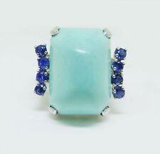 18k White Gold Turquoise & Sapphire Ring