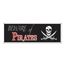BEWARE OF PIRATES LARGE BANNER 150CM PARTY DECORATION
