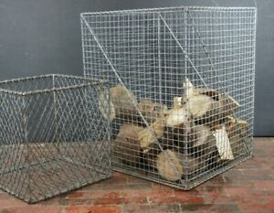 Huge Industrial Vintage Galvanised Wire Log Basket