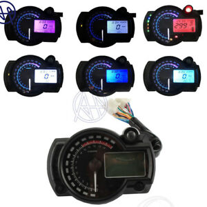1pcs Motorcycle Tachometer Gauge Odometer 12V LCD Digital Backlight Speedometer