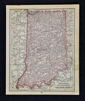 1900 McNally Map - Indiana - Indianapolis Evansville New Albany Fort Wayne IN