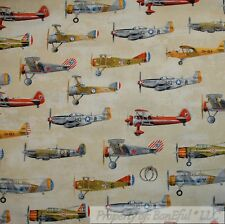 BonEful FABRIC Cotton Quilt VTG Brown Tan Military Jet Air Force Air*plane SCRAP