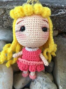 Aurora Princess Amigurumi Crochet Toy Doll Charm Handmade Cotton 100%