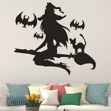 Halloween Witch Bat Broom Wall Decal Stickers Removable Mural DIY Home Decor