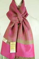 NEW DG Pashmina Scarf Wrap Paisley Hot Pink/Green 70% cashmere 30% silk Style:27