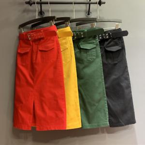 Ladies Denim Skirt Jean Bodycon Straight with Belt Midi Elegant Casual Trendy UK