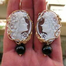 EARRINGS DROP ITALY CAMEO SHELL BY ITALY STERLING 60MM BLACK ONYX