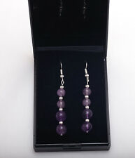 Silver plated earrings with natural Amethyst gemstones