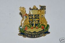 WOW Vintage Town of Midland Crest Coat of Arms Ontario Canada Lapel Pin Rare