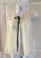 New Alice Moon Ivory Chiffon Blouse Women's Small Sleeveless Top Crochet Collar