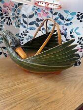 VTG Bamboo Duck Goose Green Bird Zhejiang Painted Chinese Basket