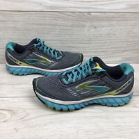 Womens Brooks Ghost 9 Running Shoes Gray Blue Green and white Size 8.5