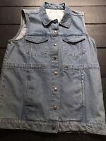 vintage 90's blue jean denim gillet studded long waistcoat