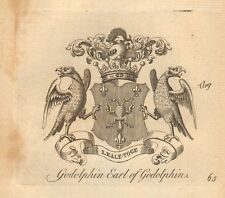 1768 ANTIQUE PRINT- CREST-ARMS - GODOLPHIN, EARL OF GODOLPHIN