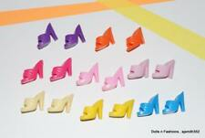 SHOE LOT Barbie Doll 8 Pairs Slip-on Mules Open Toe Sandals Shoes Mix Colors