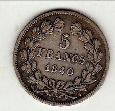 LOUIS PHILIPPE  TETE LAUREE    5 FRANCS 1840 B TB a  TTB     tranche en relief