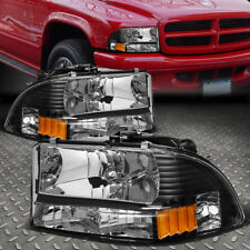 FOR 1997-2004 DODGE DAKOTA/DURANGO BLACK HOUSING AMBER SIDE HEADLIGHT/LAMPS SET