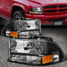 For 1997 2004 Dodge Dakota Durango Black Housing Amber Side Headlight Lamps Set Fits 1999