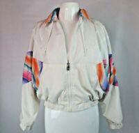 VTG 80s Track Jacket Crop Lined Sz M white Rainbow neon vintage windbreaker