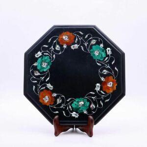 "12"" Black Marble Corner Table Top Pietra Dura Inlay Home Decor"