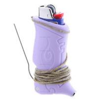 Toker Poker (Purple) Lighter Sleeve w/ BIC Lighter & 4ft Hemp Wick -Smoking Tool