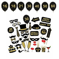 36Pcs Happy 21st 30th 40th 50th 60th Birthday Photo Booth Props Party Selfie Kit