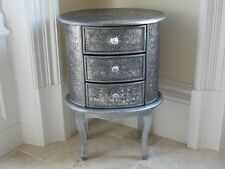 Blackened Silver Embossed 3 Drawer Bedside Chest Table Cabinet Marrakesh Cabinet