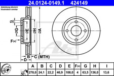 2x Bremsscheibe für Bremsanlage Vorderachse ATE 24.0124-0149.1