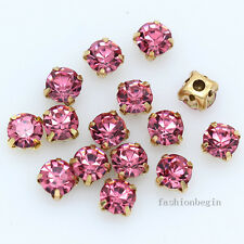 200p 4mm Sew on Cut Glass Crystal rhinestones Gold Setting montees 4 holes beads