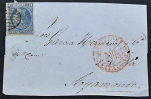 SPANIEN 1853 Briefvorderseite mit 6 Rs. blau, die Ni.Nr. 21