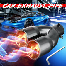 """AU 63mm 2.5"""" Inlet Dual Outlet Car Vehicle Rear Muffler Tail Exhaust Tip Pipe"""