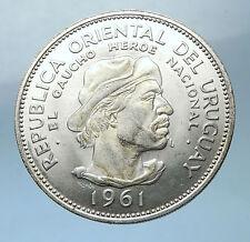 1961 URUGUAY Silver 10 Pesos 3.3cm Coin w El Caucho Hero Against Spain i68264