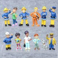 12Pcs/Set Fun Fireman Sam PVC Action Mini Figures Cartoon Doll Figurine Kids Toy