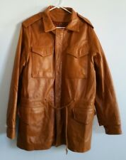 Overland Sheepskin Long 5 Pocket Brown Leather Coat Jacket Men's Sz 42 Vintage