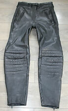 "Vintage Black Leather Sport Armour Biker Trousers Pants Jeans Size W32"" L29"""