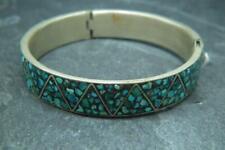 Lovely Antique Vintage Turquoise Inlay Bangle Bracelet