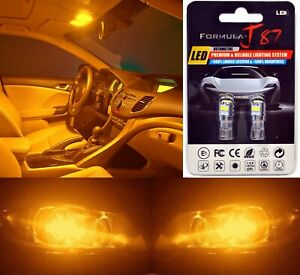 LED 3030 Light Orange Amber 168 Two Bulbs License Plate Tag Replace Fit Philips
