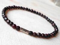 4MM garnet beads crystal men bracelet Tibet silver pray Bless Gemstone Lucky