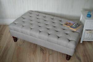 Chesterfield Design Deep Button Footstool in Grey Linen Fabric