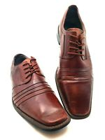 Stacy Adams Men's RAYNOR Oxford Pleated Leather Dress Shoes COGNAC US Size 9.5 M