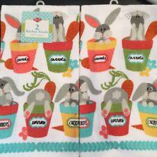 Set Of 2 Spring Bunny Rabbit Plants Flower Kitchen Dish or Hand Tea Bar Towels