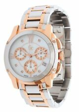 GC GUESS COLLECTION 2 TONE ROSE GOLD,SILVER+MOP,CHRONO,DIAMOND WATCH A57102M1